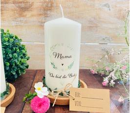 Kerze * Blätterherzenkranz Mama * Du bist die Beste