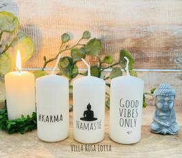 *#Karma Kerzenset * Geschenke Yoga & Meditation #Karma + Namasté + Good Vibes only