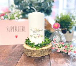 Personalisierte Geschenk Kerze zur bestandenen Prüfung Abschluss *Annabella* Blumen Bouquet Eukalyptus Oliven abike5b