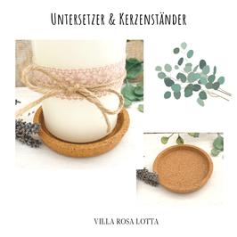 Korkuntersetzer rund - Kerzenuntersetzer aus Kork - minimalistisch & Nachhaltig & natürlich