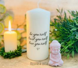 Yourself Kerze für Yoga & Meditation *Be Yourself - Trust Yourself - Love Yourself Kalligrafie *