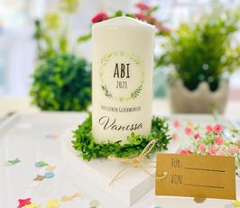 Personalisierte Geschenk Kerze zum bestandenen Abitur *Blätter Herzenskranz ABI* Herzlichen Glückwunsch abike8