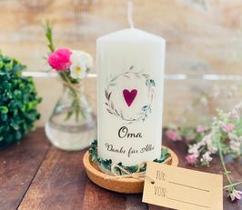 Kerze * Blätterkranz Herz Oma * Danke für Alles