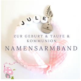 Baby & Kinderarmband mit Namen - Namensarmband rosa aus Glasschliffperlen