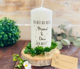 Kerze * Du bist die beste Mama und Oma der Welt * personalisiertes Muttertagsgeschenk
