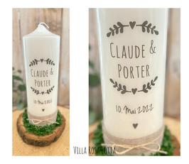 Kerze Blätterzweige Herz *Claude* Stempel Vintage rustikal mit Jute grau silber