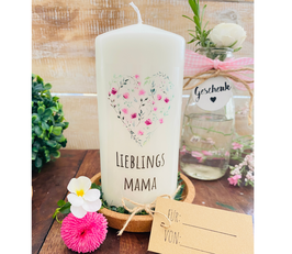 Kerze * Blumenherz Mama * Lieblingsmama