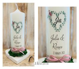 Hochzeitskerze Eukalyptusherz Ja Blumen *Julia*