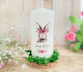 Kerze *Hasenliebe Frida Blumenkranz * Osterkerze zum verschenken oder selberbehalten