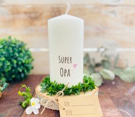 Kerze * Super Opa * personalisiertes Vatertagsgeschenk