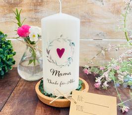 Kerze * Blätterkranz Herz Mama * Danke für Alles