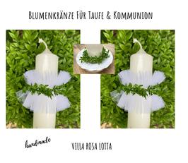 Blätterkranz mit Tülltropfschutz greenery rustikal NEU ⋆ Blumenkranz ⋆ Kerzenkranz ⋆