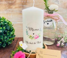 Kerze * Blumenkranz Mama * Du biste die Beste