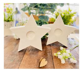 Kerzenständer *Sternchen* Holz Stern für die 40/4 cm Kerzen handgesägt & weiss lasiert