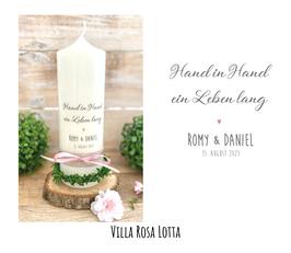 """Hochzeitskerze """"Hand in Hand ein Leben lang"""" im handlettering Stil Kalligrafie"""
