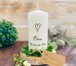 Kerze * Oma mit Herz Du bist die Beste * personalisiertes Muttertagsgeschenk