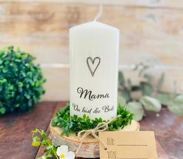 Kerze * Mama mit Herz Du bist die Beste * personalisiertes Muttertagsgeschenk