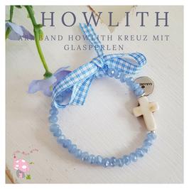 Howlith Kreuz Armband zur Taufe oder Kommunion aus Glasschliffperlen blau