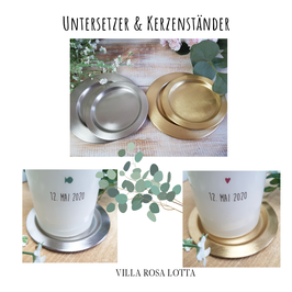 Kerzenuntersetzer Kerzenteller aus  Metall rund gold und silberfarben