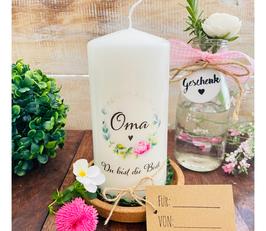 Kerze * Blumenkranz Oma * Du biste die Beste