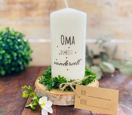 Kerze * Oma du bist wundervoll * personalisiertes Muttertagsgeschenk