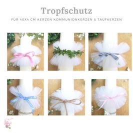 Tüll Tropfschutz Manschette für die 40/4 cm Kommunionkerzen oder Taufkerzen