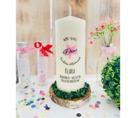 Personalisiertes Geschenk Kerze zum bestandenen Abitur *Done rosa Stern* Glückwunsch personalisierte Kerze mit Namen + Datum + Abimotto abike1
