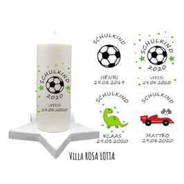 Einschulungskerze⋆ WILDE WELT FUSSBALL RENNAUTO DINOSAURIER ⋆ mit Namen & Datum des Schulkindes