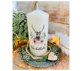 Dekokerze *Herbstliebe Hirsch* mit Blumen & Zweigen & Geweih Dekoration zum Herbst