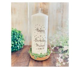Geburtstagskerze ⋆ PÜNKTCHENGEBURTSTAG grau/silber Punkte ⋆ Happy Birthday mit kleinem Herz & Namen & Zahl