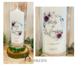 Kerze Hochzeitskerze Blumenkranz *Lilly* Moody