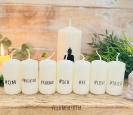 *#ich Kerzenset XL * Geschenke Yoga & Meditation  7 Minikerzen je 8/4 cm + 1 Kerze Buddha Namasté 15/7 cm