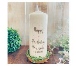 Geburtstagskerze ⋆ PÜNKTCHENGEBURTSTAG rosa Punkte ⋆ Happy Birthday mit kleinem Herz & Namen & Zahl