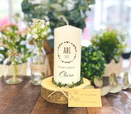 """Personalisierte Geschenk Kerze zum bestandenen Abitur *Clara"""" Herzenskranz Stempel Glückwunsch personalisierte Kerze mit Namen abike3"""