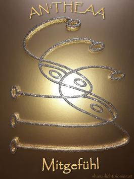 AN'THEAA - Kristall des Mitgefühls zum Aufkleben in Glitter Gold  - A4-Format - aus Holz