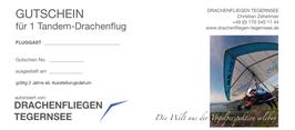 Geschenkgutschein für einen Drachen-Tandemflug