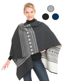 Vrikke Winter Merino Wool Poncho Cape Shawl Sweater Coat