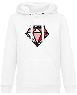 DIAMONDS Hoodie weiß mit DIAMONDS-Logo und Wunschname