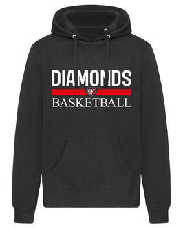 DIAMONDS Hoodie schwarz mit Blocklogo und Wunschname