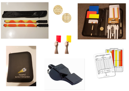 Referee set with flags, whistle, coin, cards, and match notice cards.