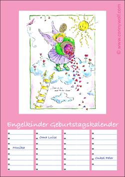 """""""Engelkinder"""" Geburtstagskalender - rosa Titelbild"""
