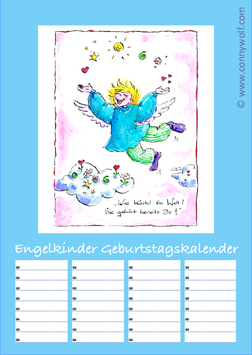 """Engelkinder"" Geburtstagskalender - hellblaues Titelbild"