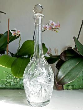 Antike böhmische Kristall Karaffe mit Sternschliff