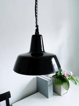 Bauhaus Ära Emaille Lampe Pendelleuchte Industrielampe 1920 - 1940