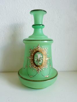 Antike Biedermeier Vase / Karaffe mit Emaillemalerei