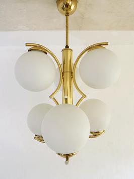 Vintage Midcentury Deckenlampe Messing & Glaskugeln Richard Essig