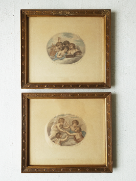 2 antike Stiche Francesco Bartolozzi Cherubs / Engel 1791