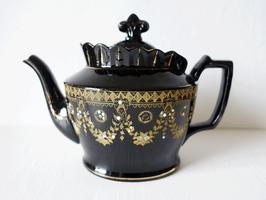Antike Viktorianische Teekanne Nr.3 schwarz Emaillemalerei England 1L