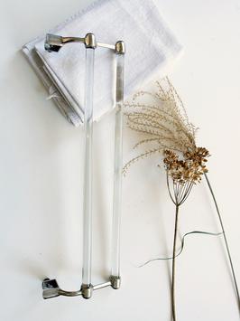 Antiker Art Deco Handtuchhalter Chrom & Glas um 1910 - 1920