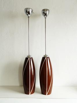 Bauhaus- Midcentury- Stil Leuchten Chrom & Glas Braun (Paar)
